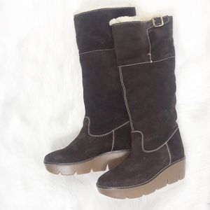 Kors made in Italy Suede Wedge Knee Boots Size 6